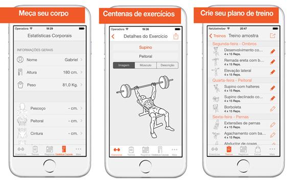 Print de um aplicativo para treinamento de musculação